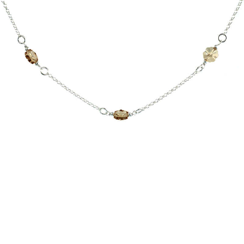 Sterling Silver Flower Citrine Swarovski Crystals 16 in. Rolo Chain Link Necklace
