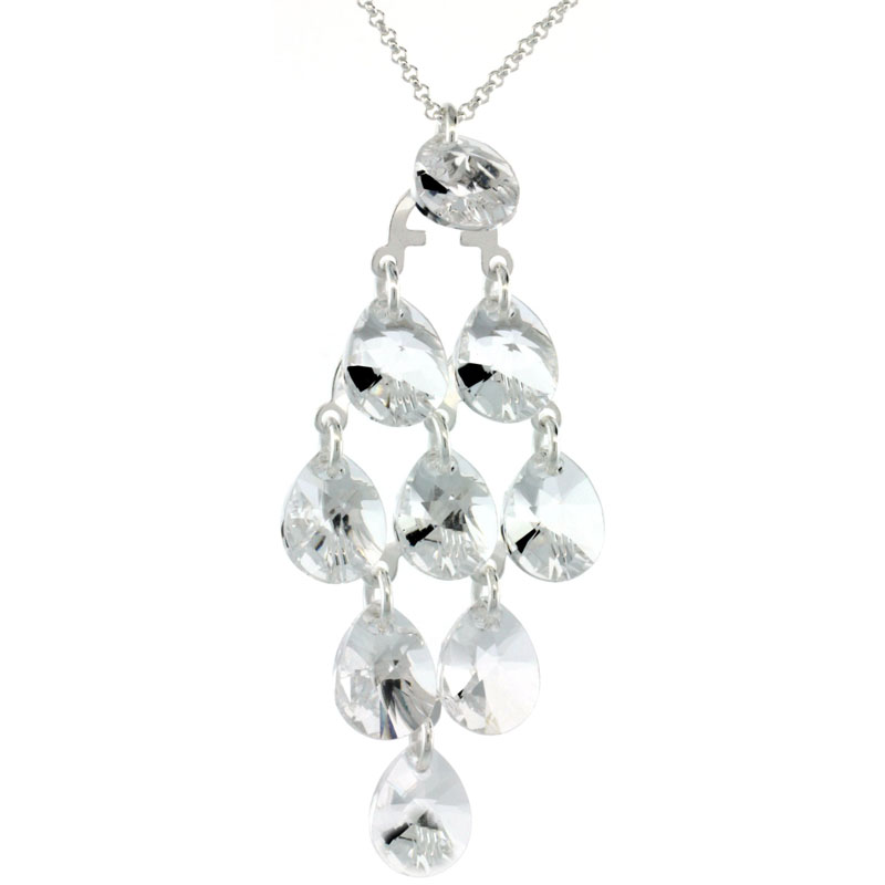Sterling Silver Clear Swarovski Crystals Chandelier Pendant 16 in. Rolo Chain Link Necklace