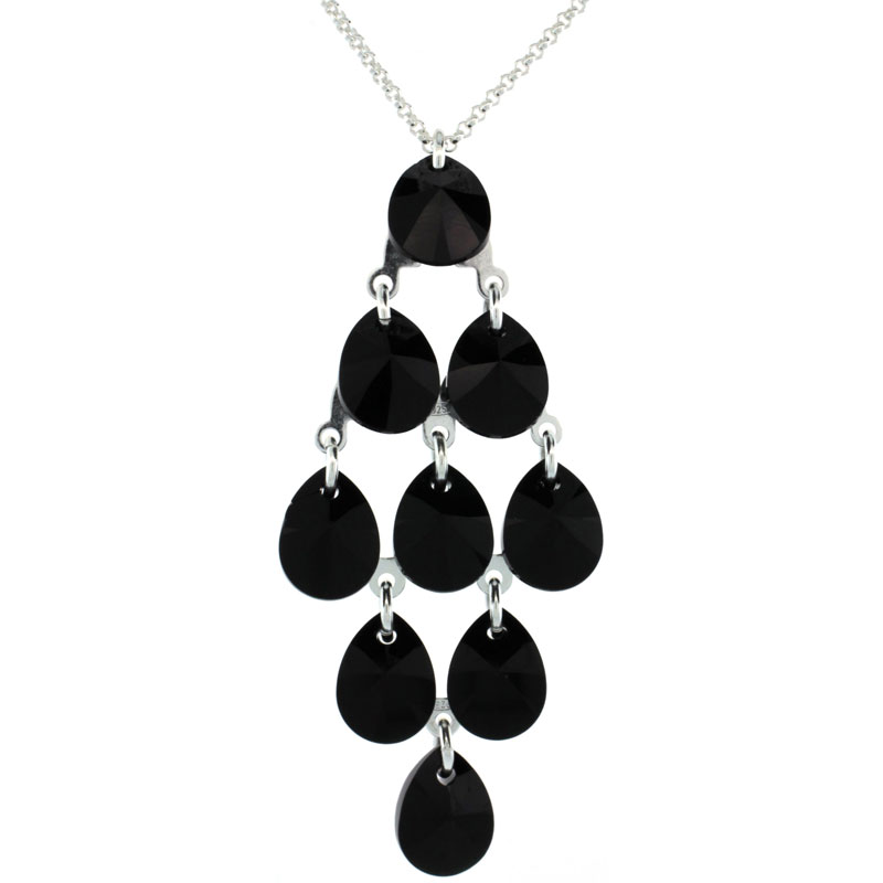 Sterling Silver Black Swarovski Crystals Chandelier Pendant 16 in. Rolo Chain Link Necklace
