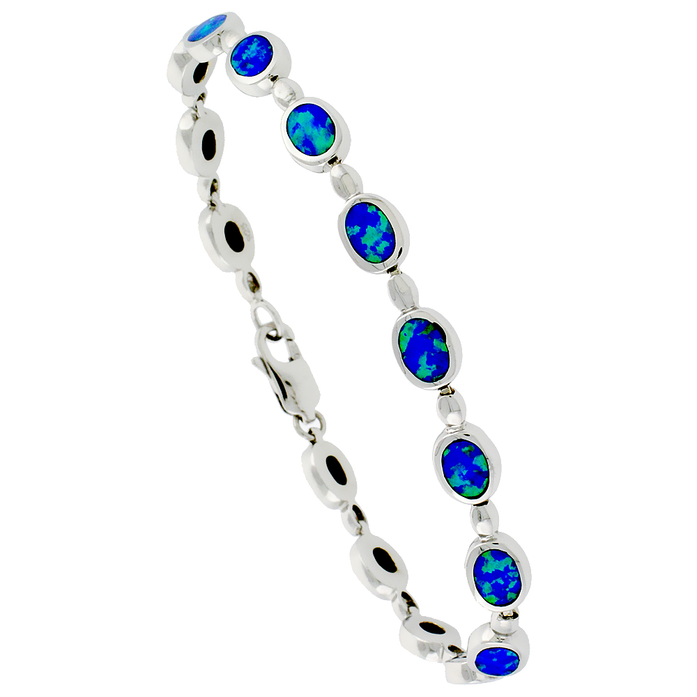 Sterling Silver Synthetic Opal Bracelet Oval Links 1/4 inch (6 mm) Wide
