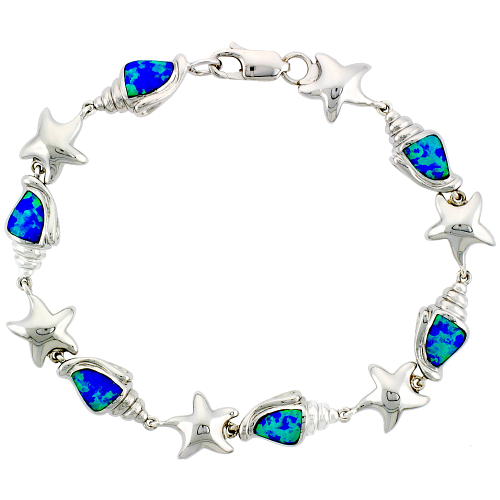 Sterling Silver Synthetic Opal Conch & Starfish Bracelet 3/8 inch (10 mm) Wide