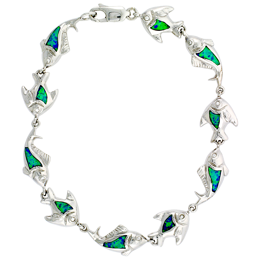 Sterling Silver Synthetic Opal Fish Bracelet 3/8 inch (10 mm) x Hand Inlay 7 1/4 inch