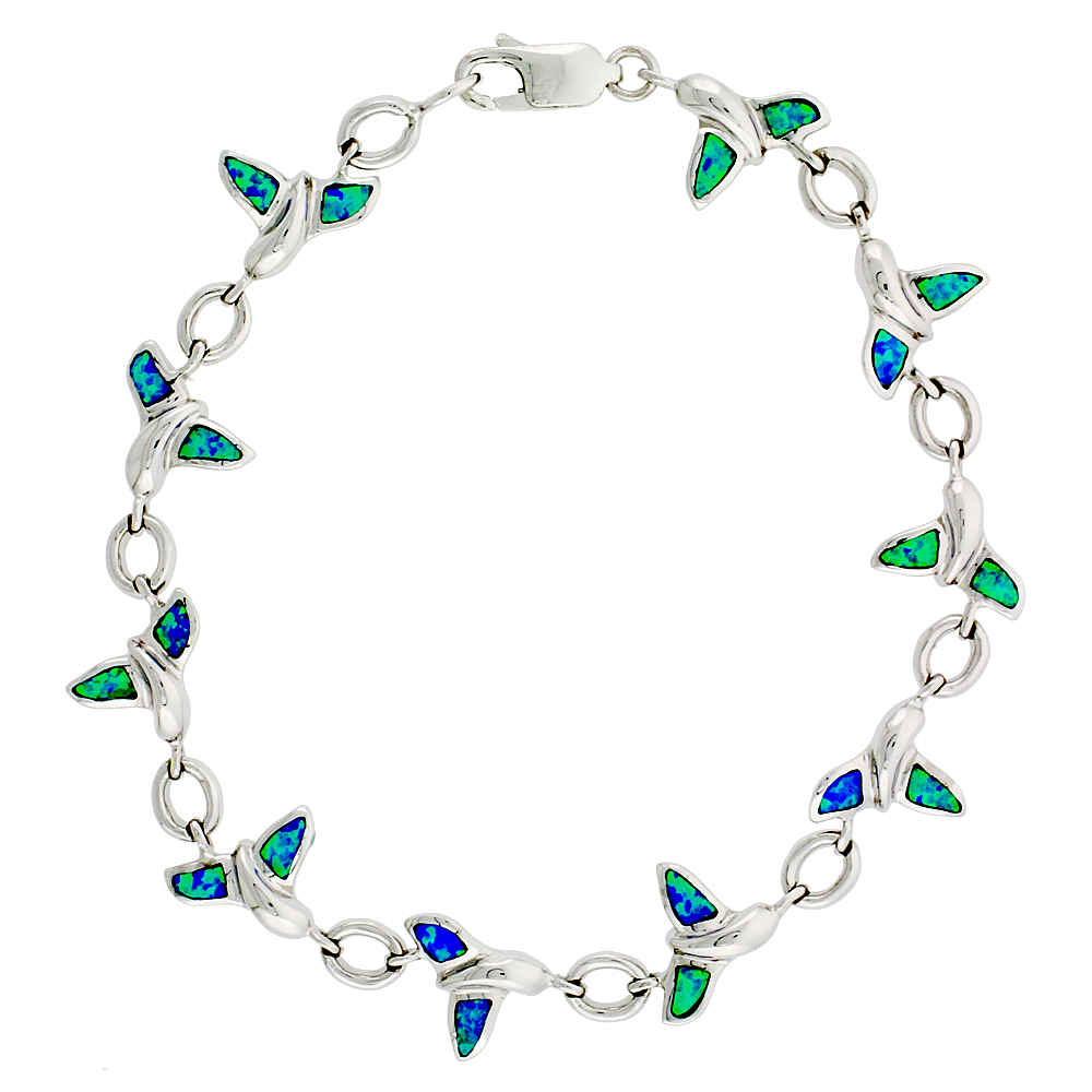 Sterling Silver Synthetic Opal Whale Tail Bracelet with 3/8 inch (10 mm) wide Hand Inlay 7 1/4 inch long