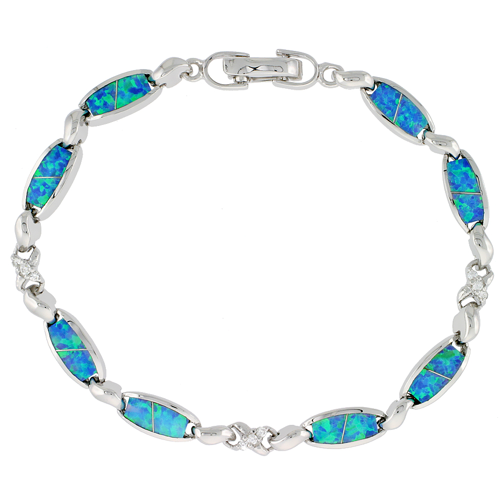 Sterling Silver Synthetic Opal Bracelet oval links and Infinity symbols and CZ stones, 7 1/4 inch long
