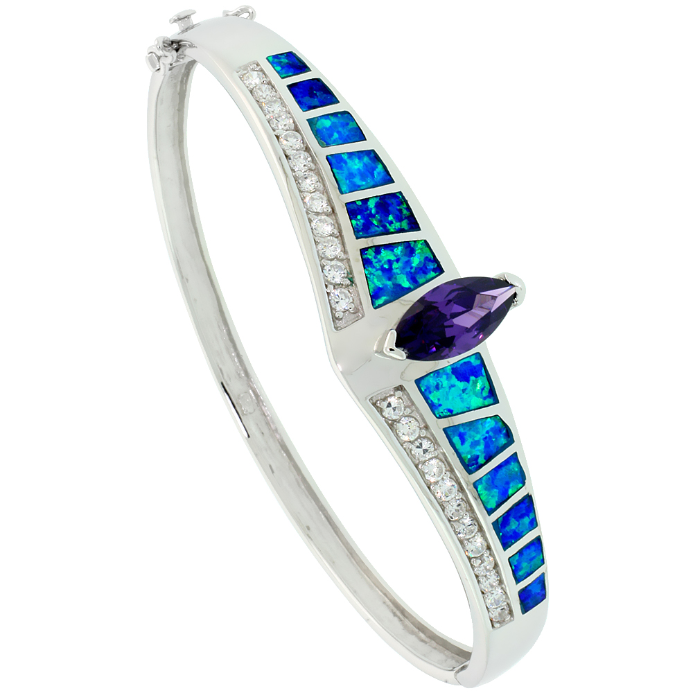 Sterling Silver Synthetic Opal Bangle Bracelet Marquise Cut Amethyst CZ Stone 1/2 inch wide