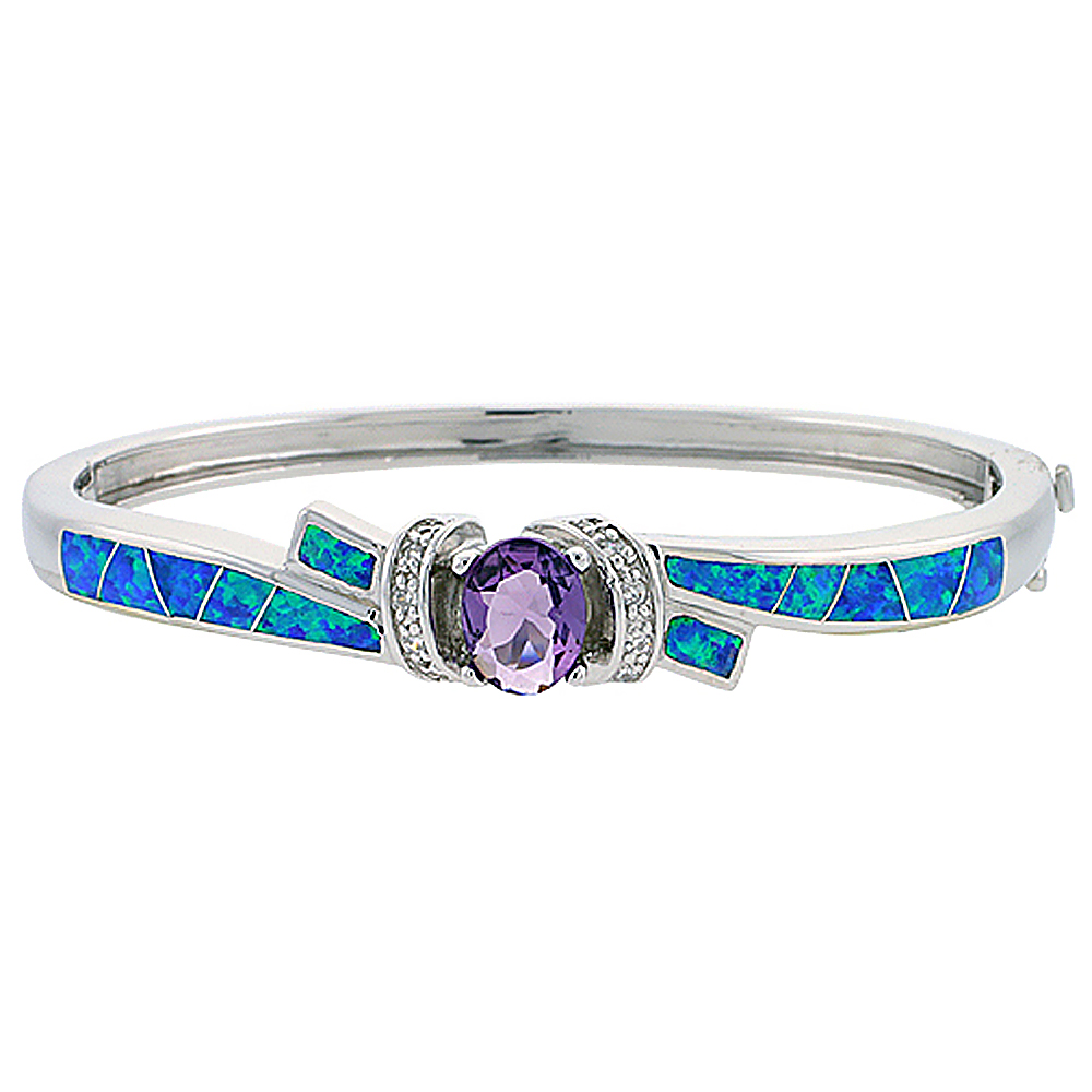 Sterling Silver Synthetic Opal Bangle Bracelet with 10 mm Round Amethyst CZ