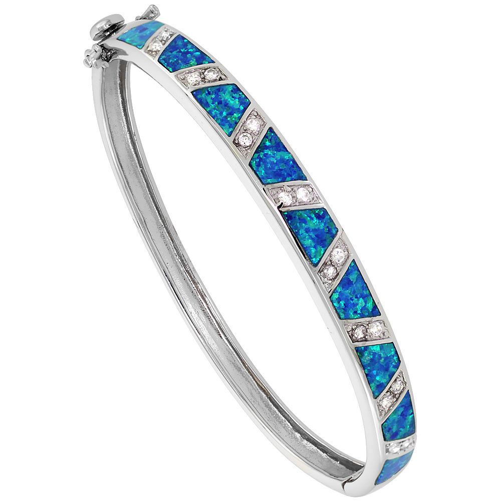 Sterling Silver Synthetic Opal Bangle Bracelet w/ CZ stones 1/4 inch (Hand Inlay 7 mm) wide