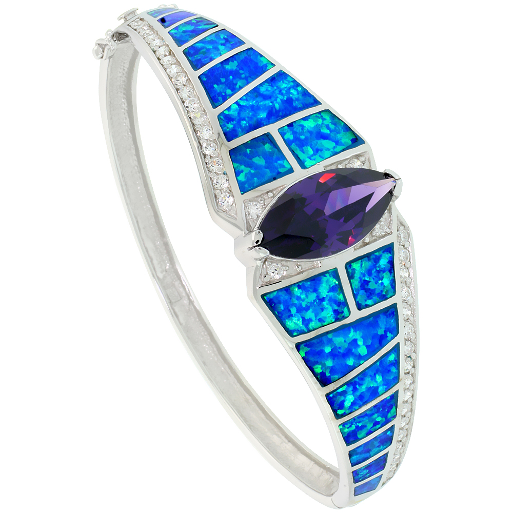 Sterling Silver Synthetic Opal Bangle Bracelet Marquise Cut Amethyst CZ Stone 3/4 inch wide