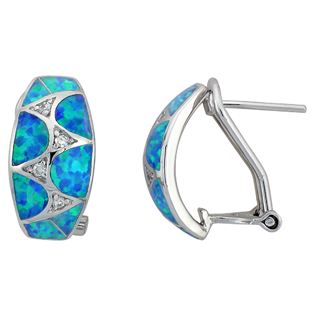 Sterling Silver Synthetic Blue Opal Earrings Omega Back Cubic Zirconia Accent 11 16 Inch