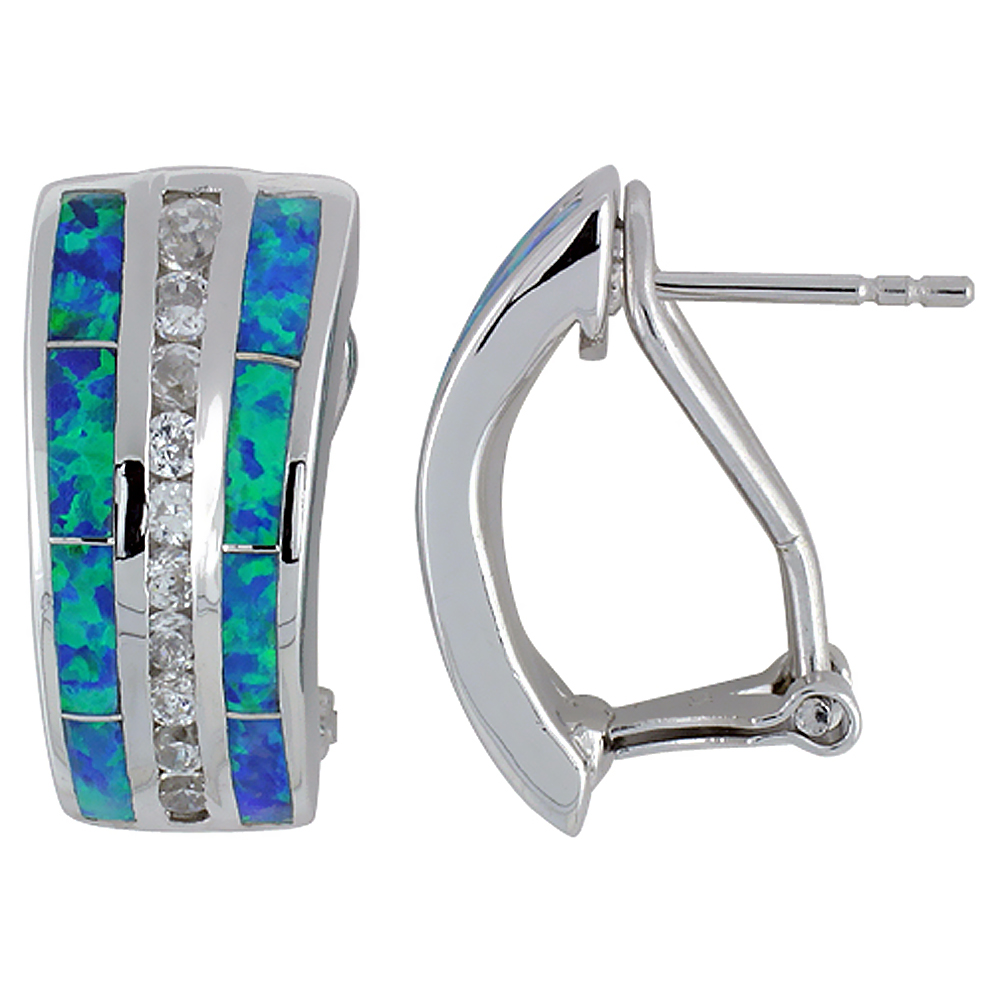 Sterling Silver Synthetic Blue Opal Earrings Omega Back Channel Set CZ Stones, 7/8 inch