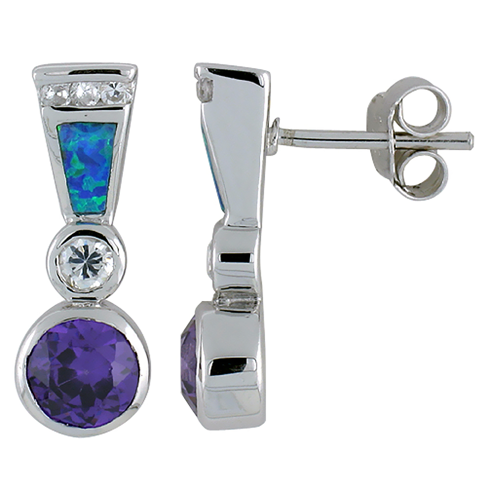 Sterling Silver Synthetic Blue Opal Earrings with Round Shape Amethyst CZ Center 13/16 inch