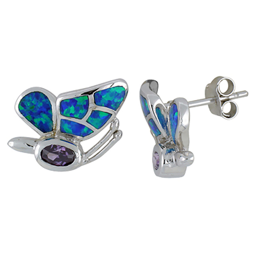 Sterling Silver Synthetic Blue Opal Butterfly Earrings with Oval Shape Amethyst CZ Center 11/16 inch