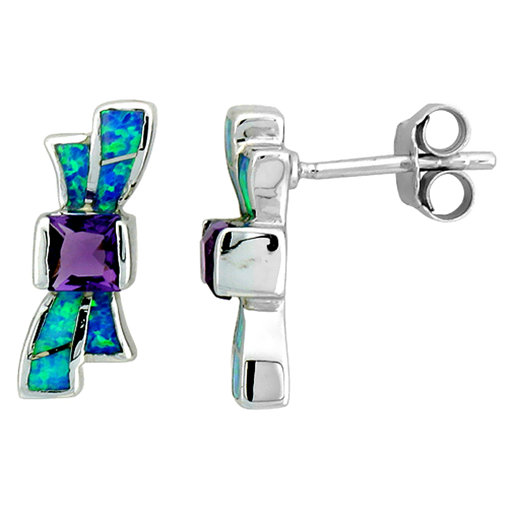 Sterling Silver Synthetic Blue Opal Ribbon Earrings Inlay Amethyst CZ Center 5/8 inch
