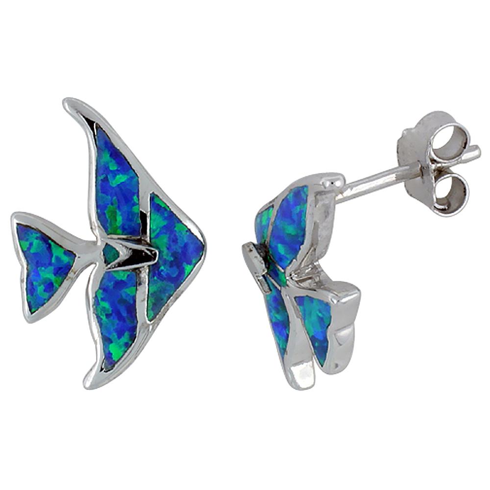 Sterling Silver Synthetic Blue Opal Angelfish Stud Earrings, 5/8 inch.