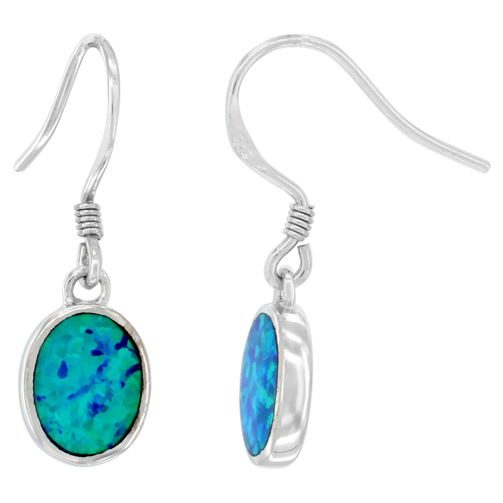 Sterling Silver Dangle Earrings Synthetic Blue Opal Oval Shape, 1 inch