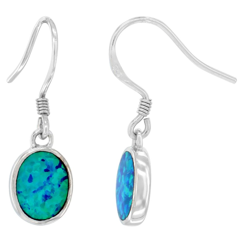 Sterling Silver Dangle Earrings Synthetic Blue Opal Oval Shape, 1 inch
