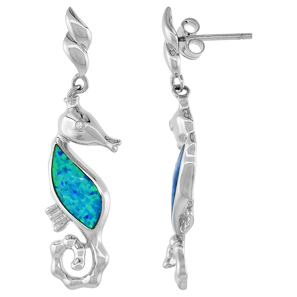 Sterling Silver Synthetic Blue Opal Seahorse Dangle Earrings with small CZ, 1 5/8 inch