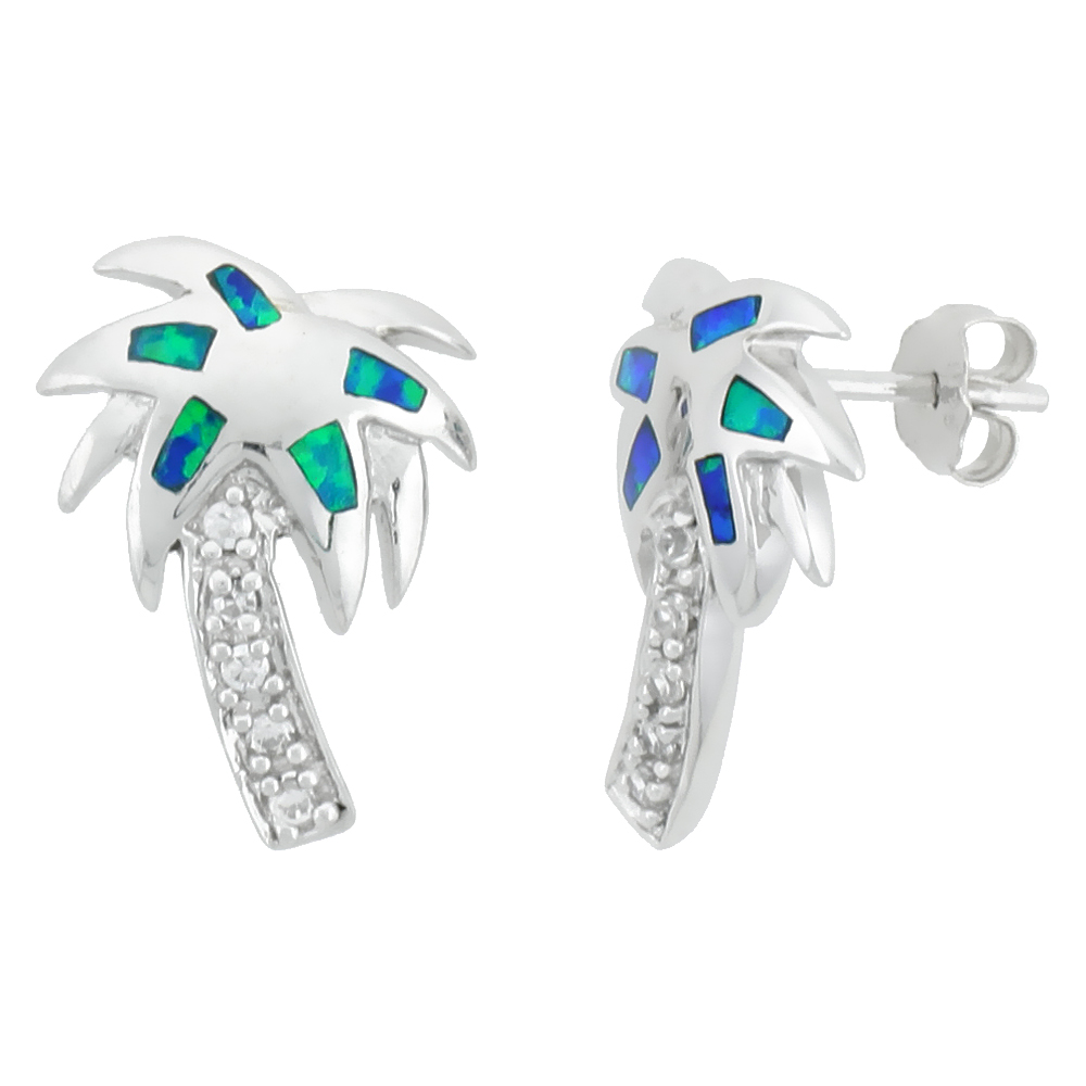 Sterling Silver Coconut Tree Earrings Synthetic Blue Opal