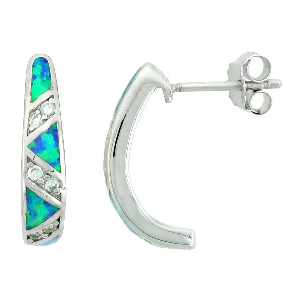 Sterling Silver Half Hoop Earrings Synthetic Blue Opal