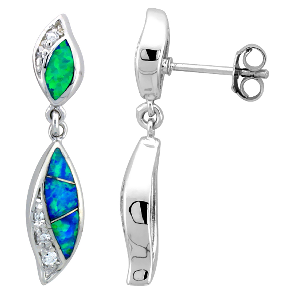 Sterling Silver Synthetic Opal Dangle Drop Post Earrings Cubic Zirconia accent, 1 5/16 inch Long