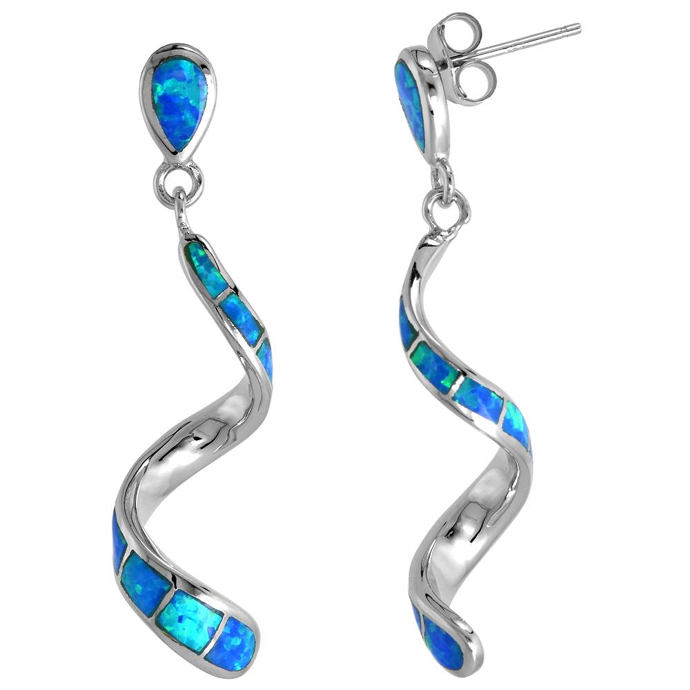Sterling Silver Swirl Earrings Synthetic Blue Opal