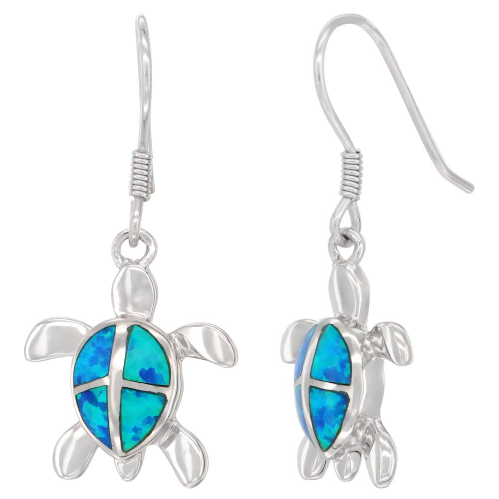 Sterling Silver Turtle Earrings Synthetic Blue Opal