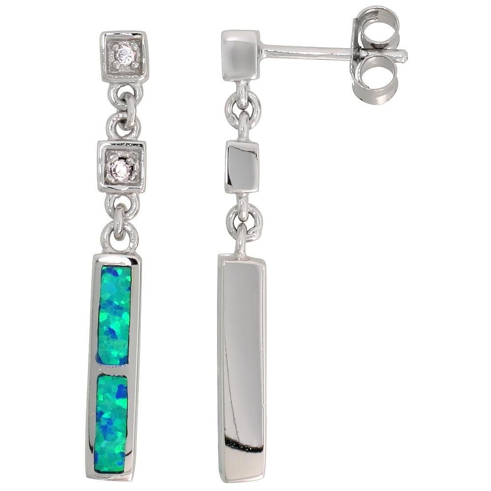 Synthetic Blue Opal Dangling Bar Earrings Synthetic Blue Opal