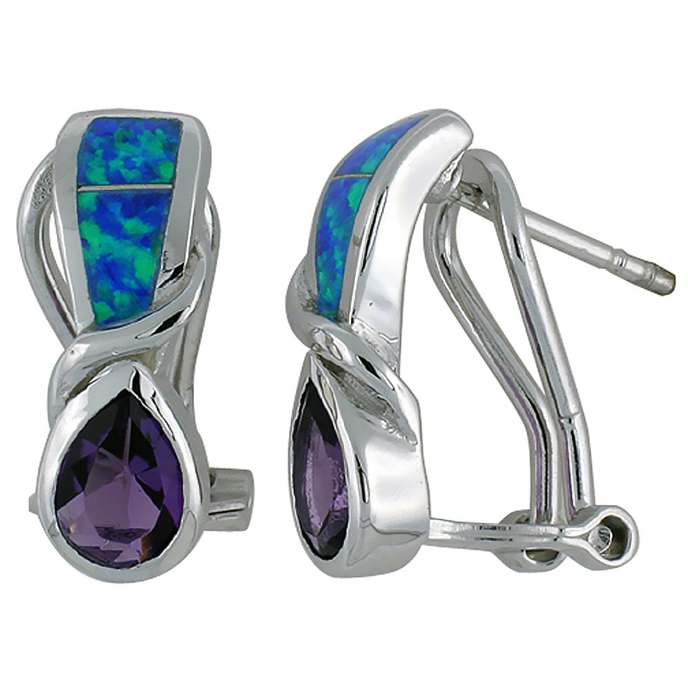 Sterling Silver Synthetic Blue Opal Earrings Omega Back Teardrop Amethyst CZ, 3/4 inch