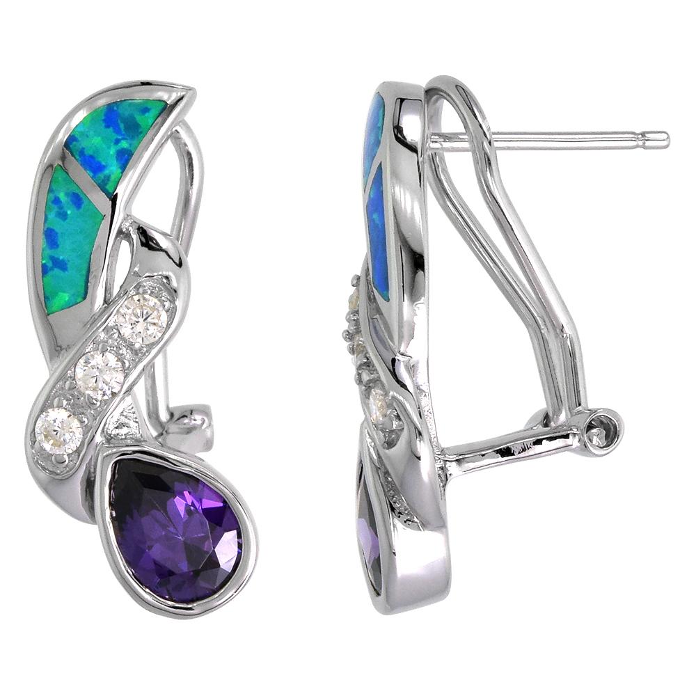 Sterling Silver Synthetic Blue Opal Earrings Omega Back Teardrop Amethyst Cubic Zirconia center, 7/8 inch