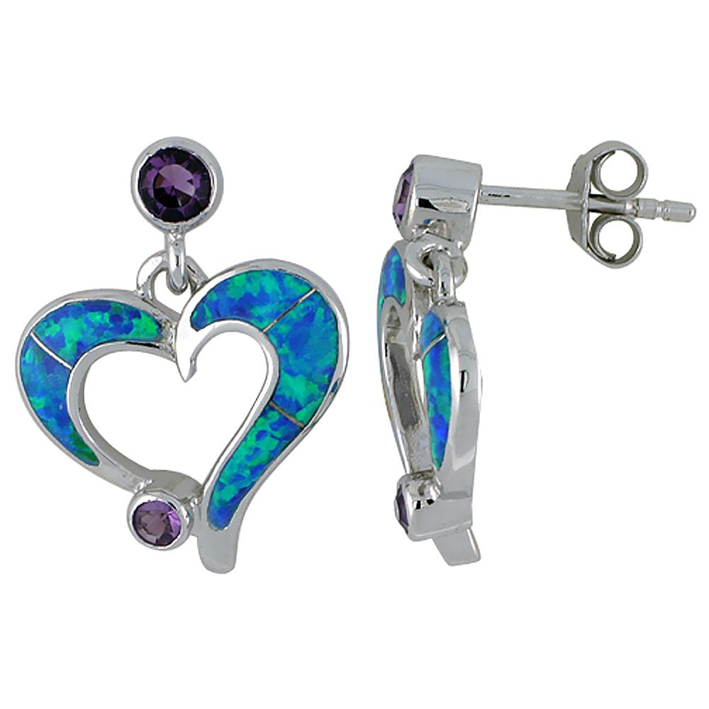 Sterling Silver Open Heart Earrings Synthetic Blue Opal Amethyst CZ Center 7/8 inch