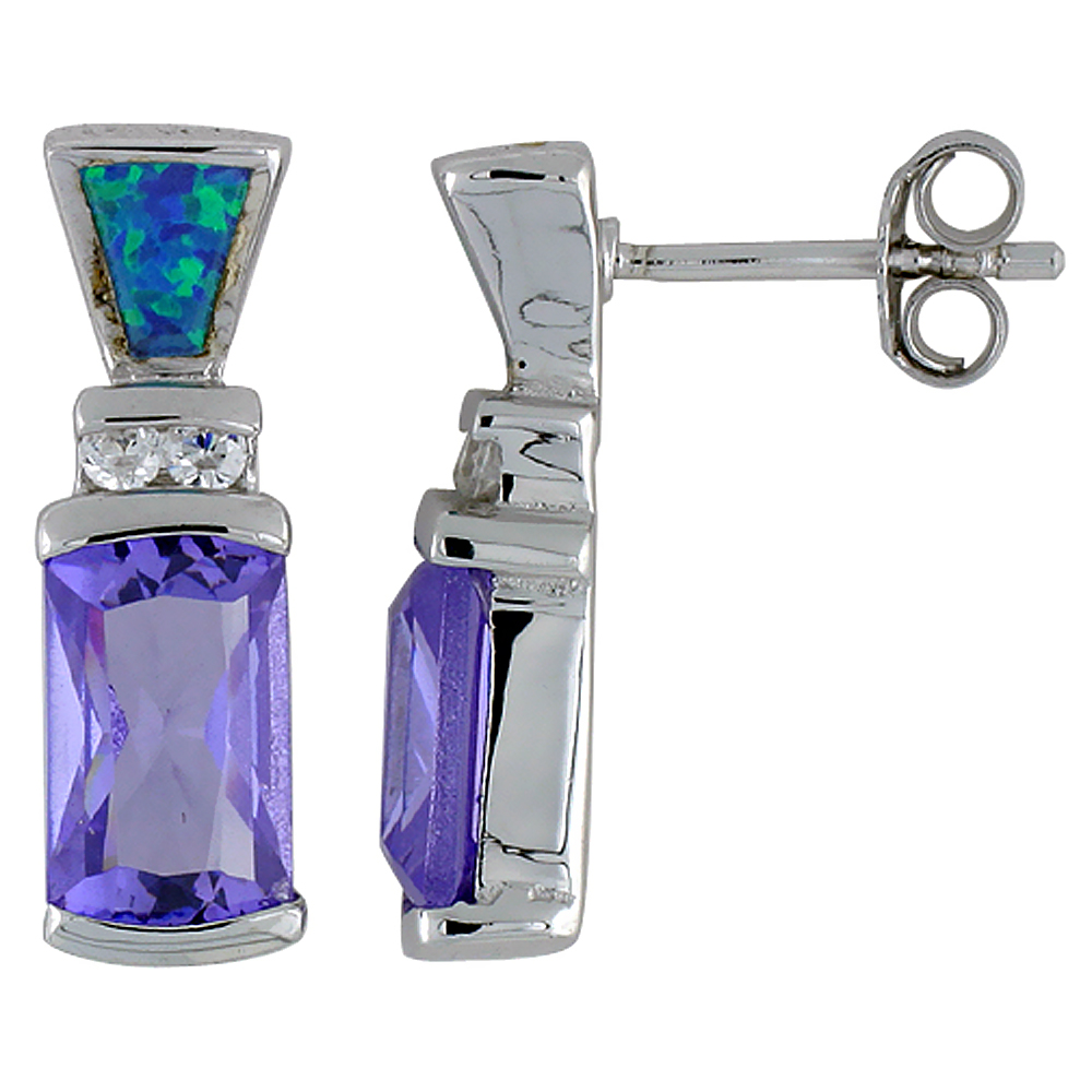 Sterling Silver Rectangular Amethyst CZ Earrings Synthetic Blue Opal Clear CZ accent, 13/16 inch