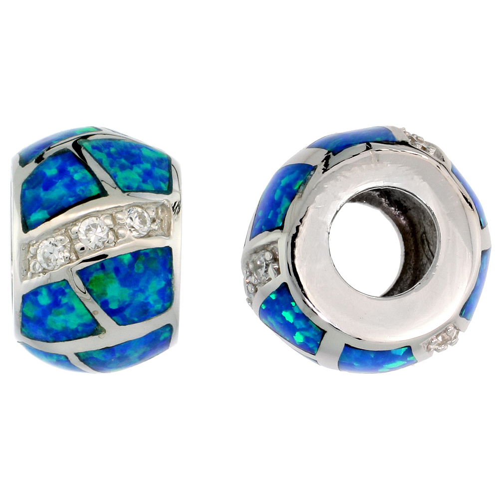 Sterling Silver Synthetic Blue Opal Bead Charm CZ stones Fits Pandora and all Charm Bracelets, 3/8 inch