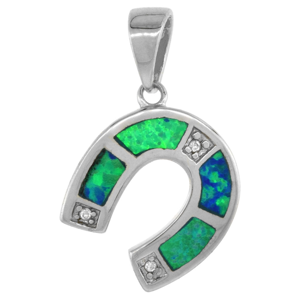 Sterling Silver Horseshoe Pendant Synthetic Opal Inlay Cubic Zirconia Accent, 9/16 inch tall