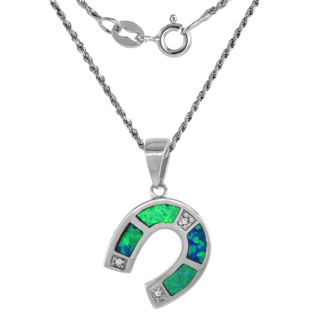 Sterling Silver Synthetic Opal Horseshoe Necklace Hand Inlay CZ Accent 9/16 inch