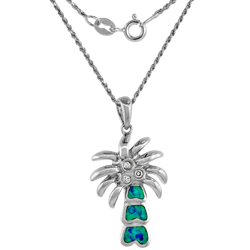 Sterling Silver Synthetic Opal Palm Tree Necklace for Women Hand Inlay CZ Accent 1 inch