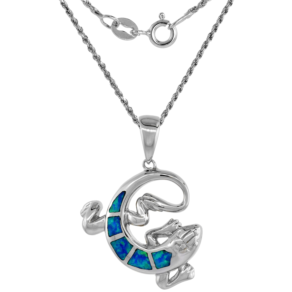 Sterling Silver Synthetic Opal Lizard Necklace for Women Hand Inlay 1 inch