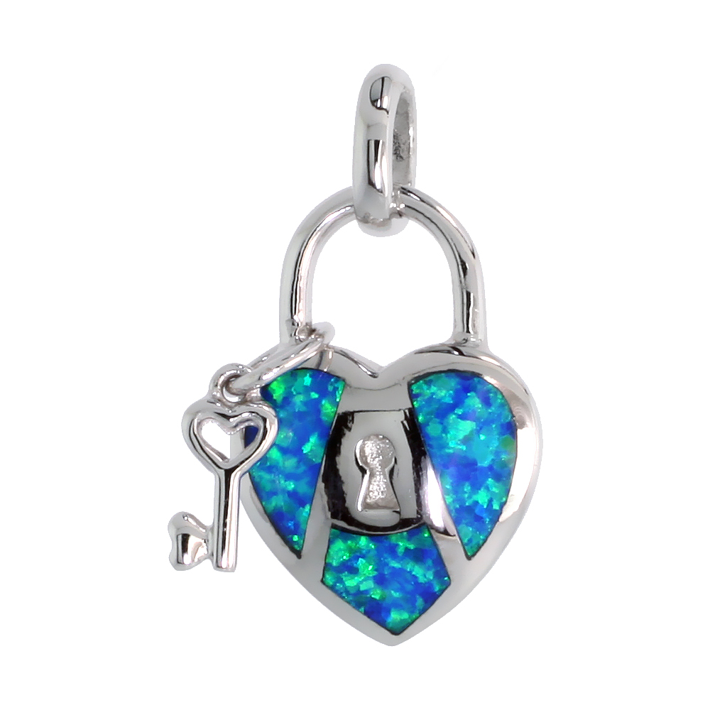 Sterling Silver Key to My Heart Pendant Synthetic Opal Inlay 13/16 inch tall