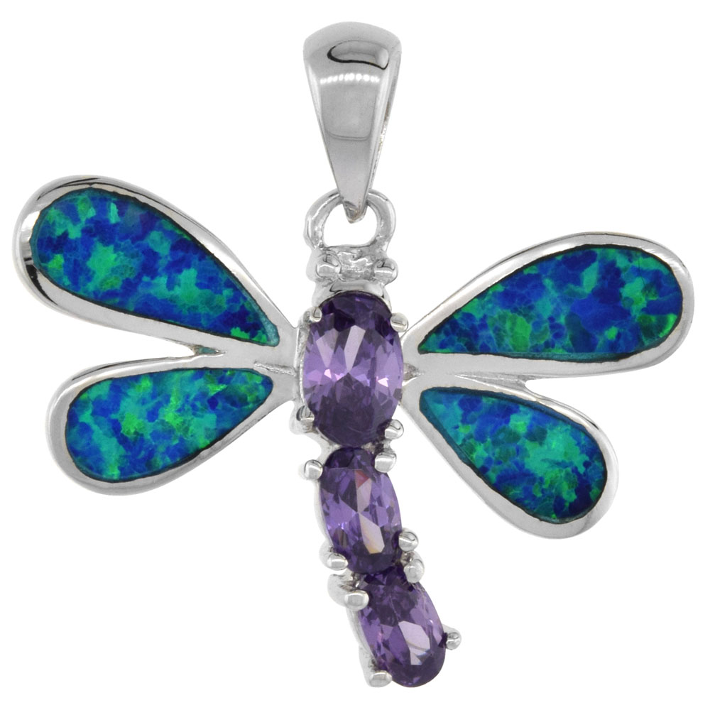 Sterling Silver Amethyst CZ Dragonfly Pendant Synthetic Opal Inlay Cubic Zirconia Accent, 1 1/8 inch
