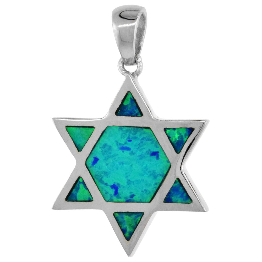 Sterling Silver Star of David Pendant Synthetic Opal Inlay 5/8 inch tall
