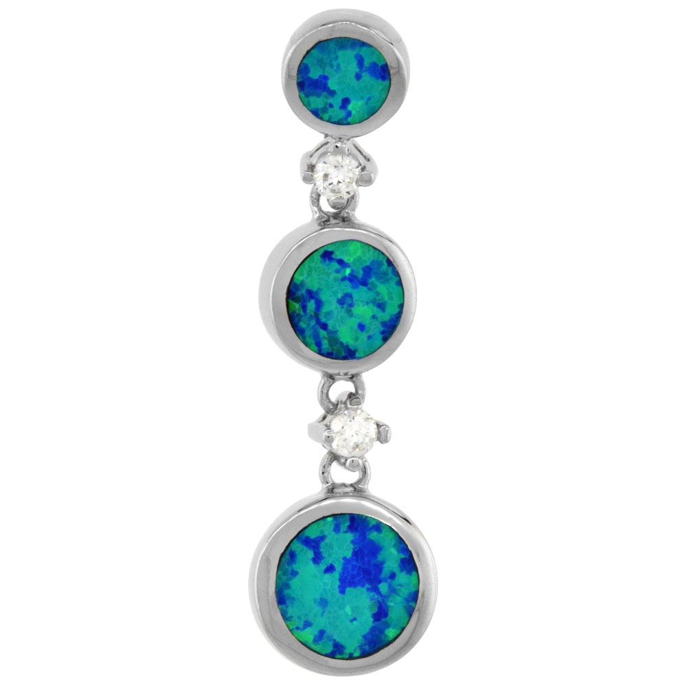 Sterling Silver 3 Circles Pendant Synthetic Opal Inlay 1 1/4 inch tall