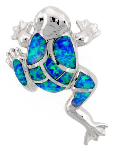 Sterling Silver Frog Pendant Synthetic Opal Inlay, 1 1/8 inch Tall