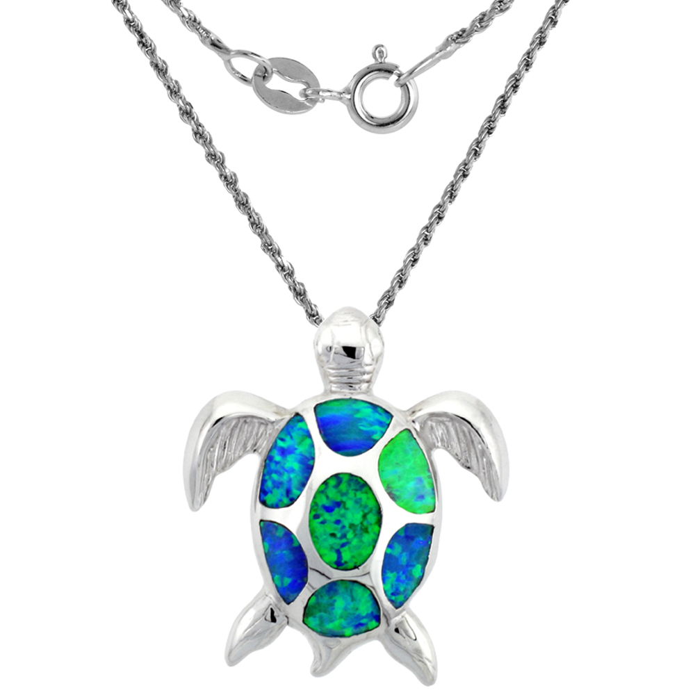 Sterling Silver Synthetic Opal Sea Turtle Necklace for Women Hand Inlay 1 inch Tall