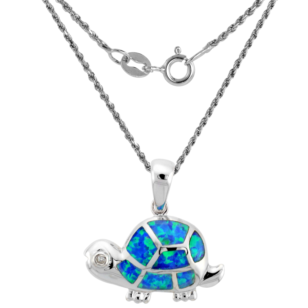 Sterling Silver Synthetic Opal Tortoise Necklace for Women Hand Inlay & CZ stones 1 inch
