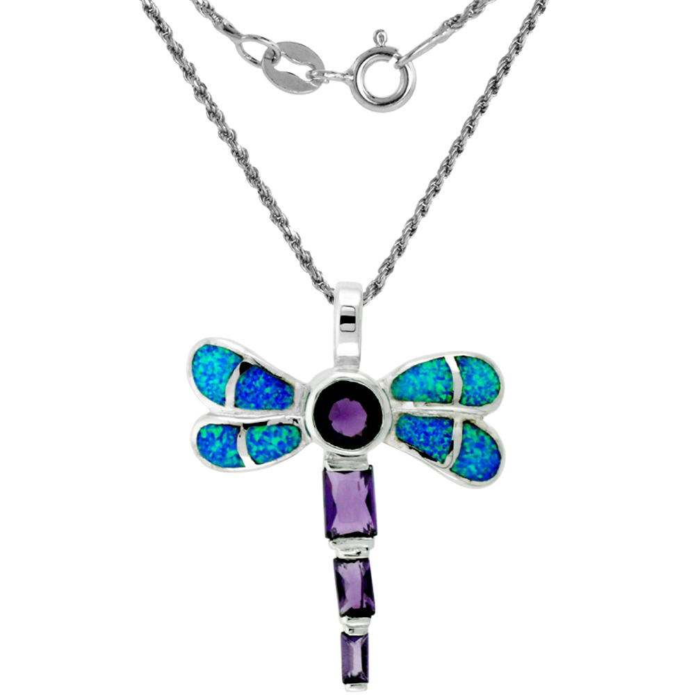 Sterling Silver Synthetic Opal Dragonfly Necklace Amethyst CZ & white CZ 1 3/8 inch