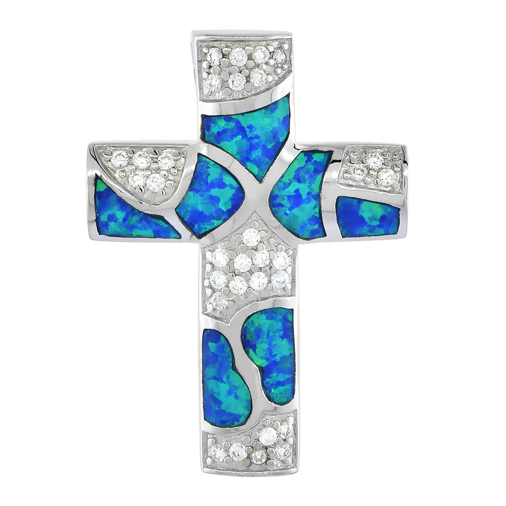 Sterling Silver Synthetic Opal Cross Necklace for Women Hand Inlay 3//4 inch