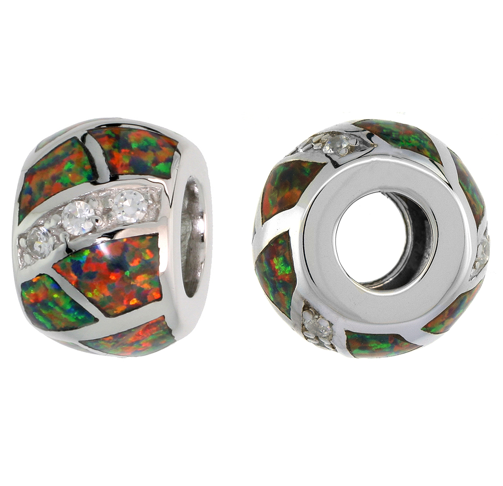 Sterling Silver Synthetic Fire Opal Bead Charm CZ stones Fits Pandora and all Charm Bracelets, 3/8 inch
