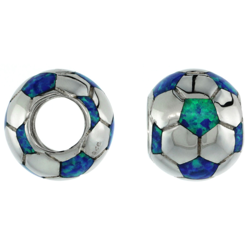 Sterling Silver Blue Synthetic Opal Soccer Ball Bead Charm 7mm Hole, 1/2 inch