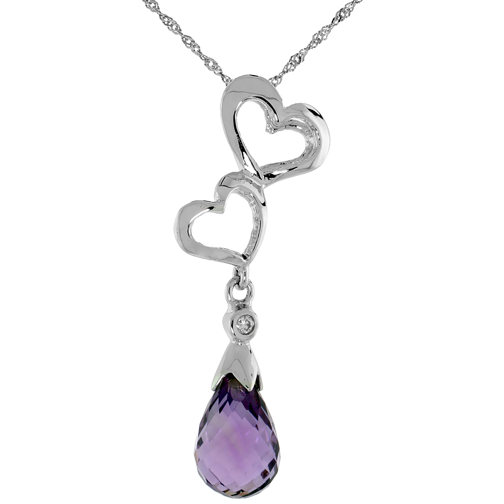 "10k White Gold Double Heart Cut Out & Amethyst Pendant, w/ Brilliant Cut Diamond, 1 3/16 in. (30mm) tall, w/ 18"" Sterling Silver Singapore Chain"