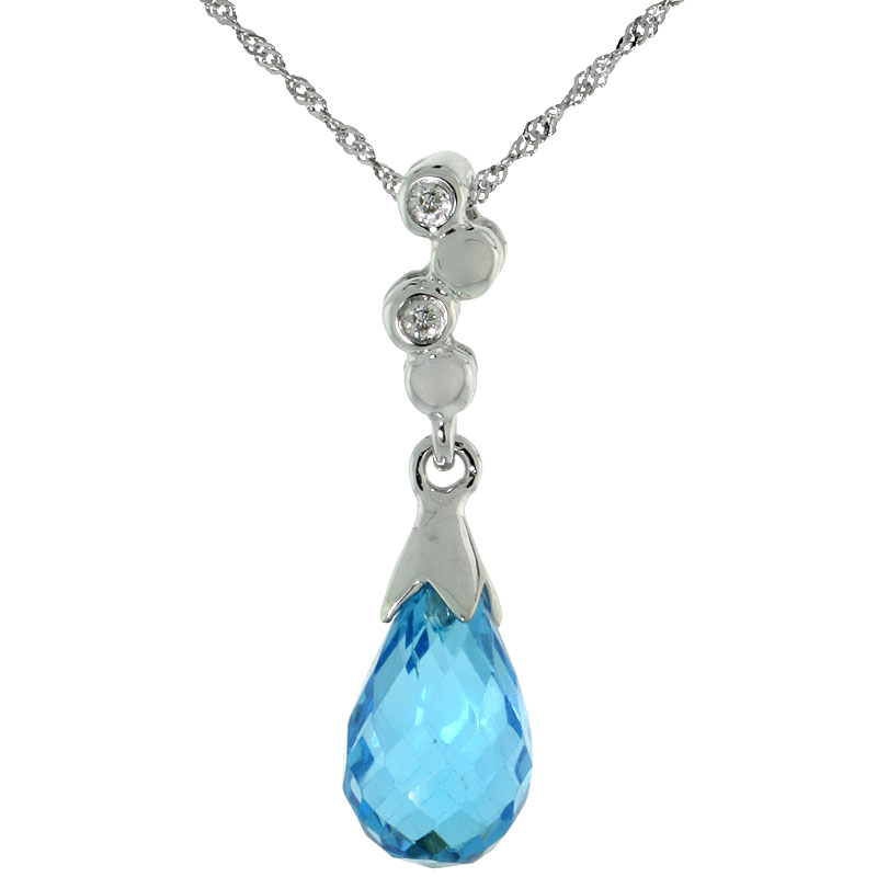 "10k White Gold Bubbles & Blue Topaz Pendant, w/ 0.02 Carat Brilliant Cut Diamonds, 7/8 in. (22mm) tall, w/ 18"" Sterling Silver Singapore Chain"