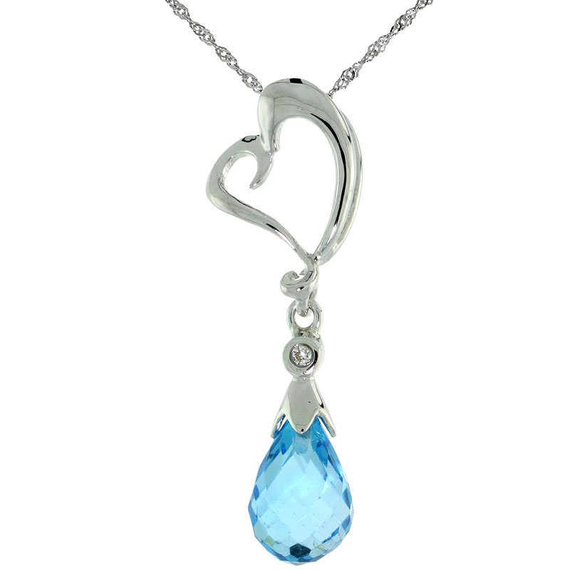 "10k White Gold Heart Cut Out & Blue Topaz Pendant, w/ Brilliant Cut Diamond, 1 1/8 in. (28mm) tall, w/ 18"" Sterling Silver Singapore Chain"